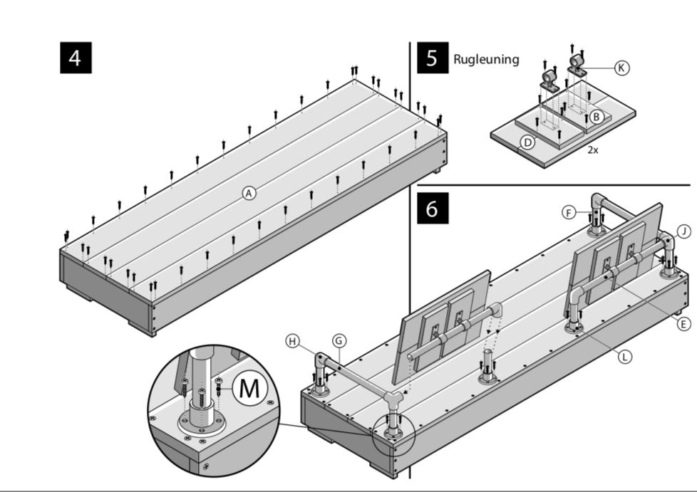 bouwtekening steigerhouten tuinbank